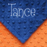 Soft Baby Blanket or Lovie, Personalized Baby Boy Gift with Name, Newborn Babies Present, Orange and Blue or Any Colors, Toddler Mini Minky