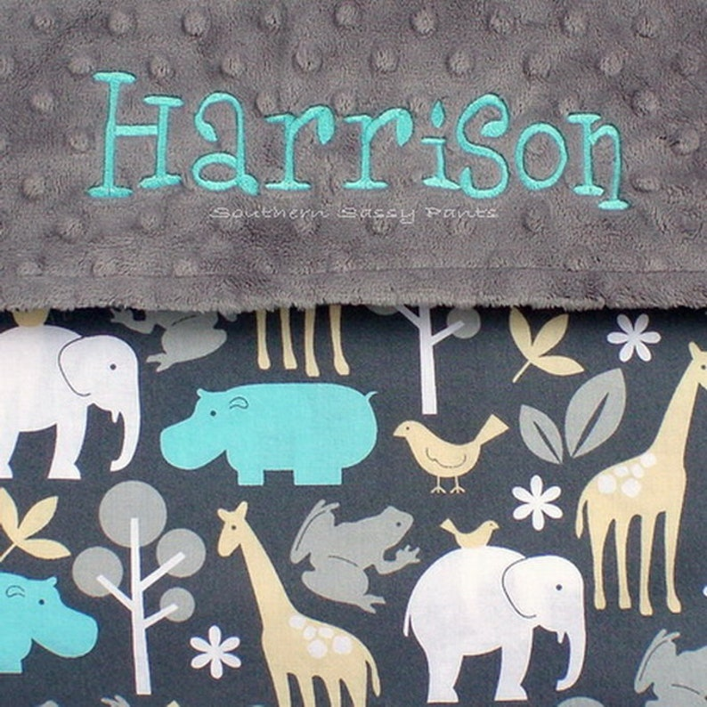 Animal Baby Blanket Personalized Minky for Boys and Girls image 0