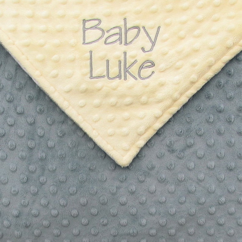 Baby Boy Blanket or Lovie Yellow and Grey Personalized image 0