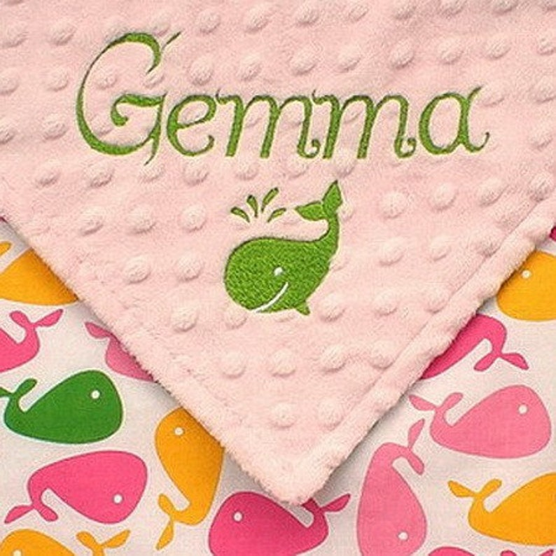 Personalized Baby Girl Blanket Nautical Whale Blanket image 0