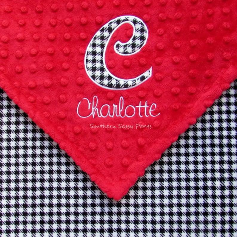 Personalized Houndstooth Baby Blanket  Alabama Crimson Tide image 0