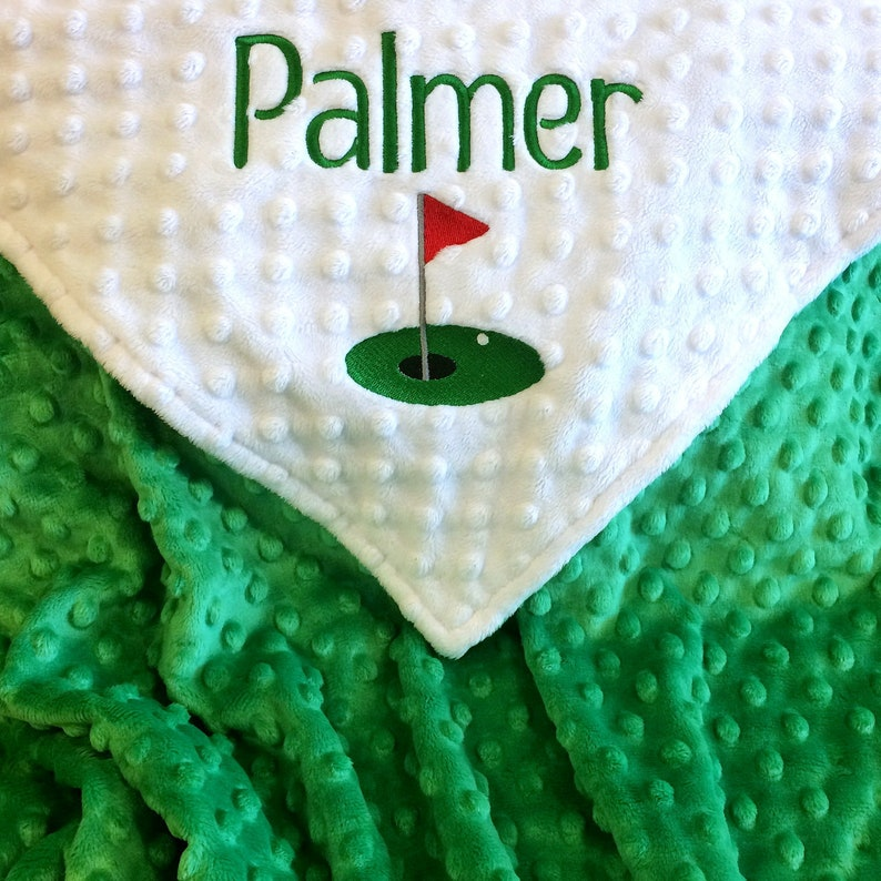 Personalize Golf Baby Blanket or Lovie Minky for Baby Girl image 0