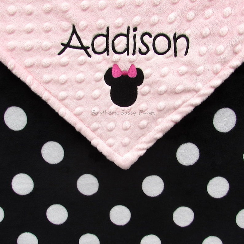 Baby Girl or Baby Boy Name Blanket Minnie Mouse Inspired image 0