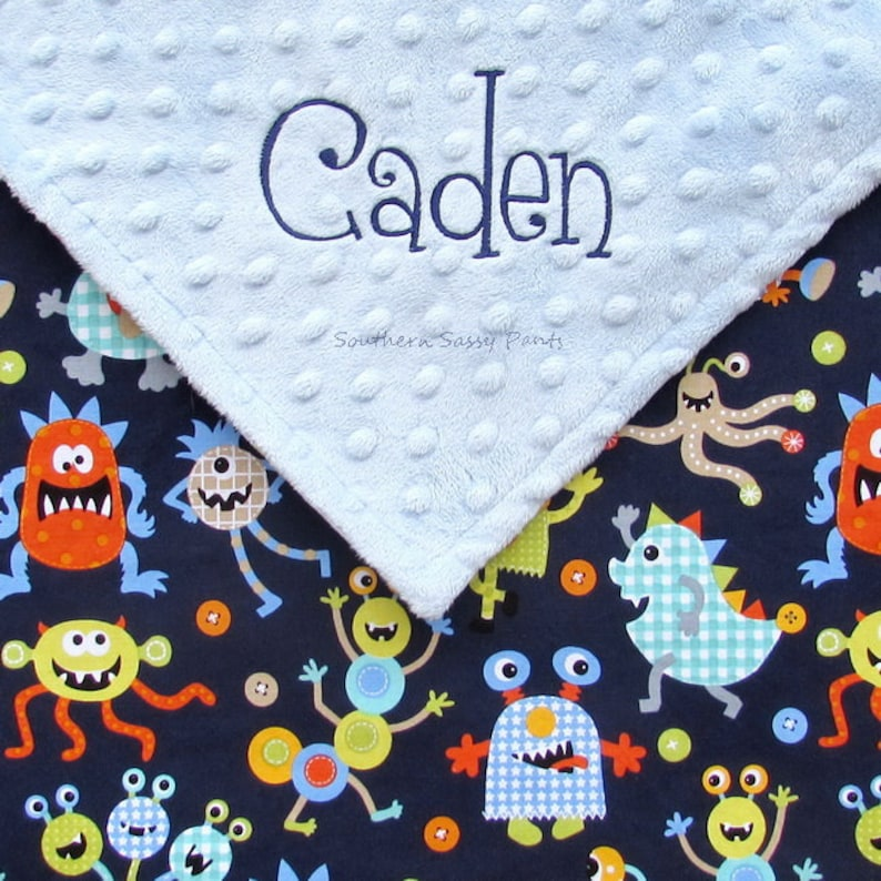Monster Blanket  Personalized for Baby Boys and Toddlers  image 0