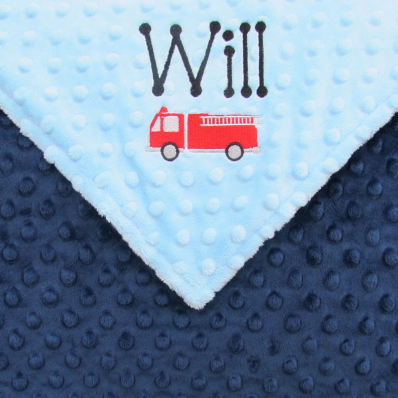 Firefighter Baby Blanket or Lovie Personalized for Boys or image 0