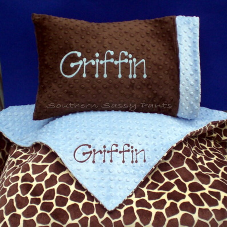 Personalized Toddler Blanket and  Pillow Set  Minky Blanket image 0