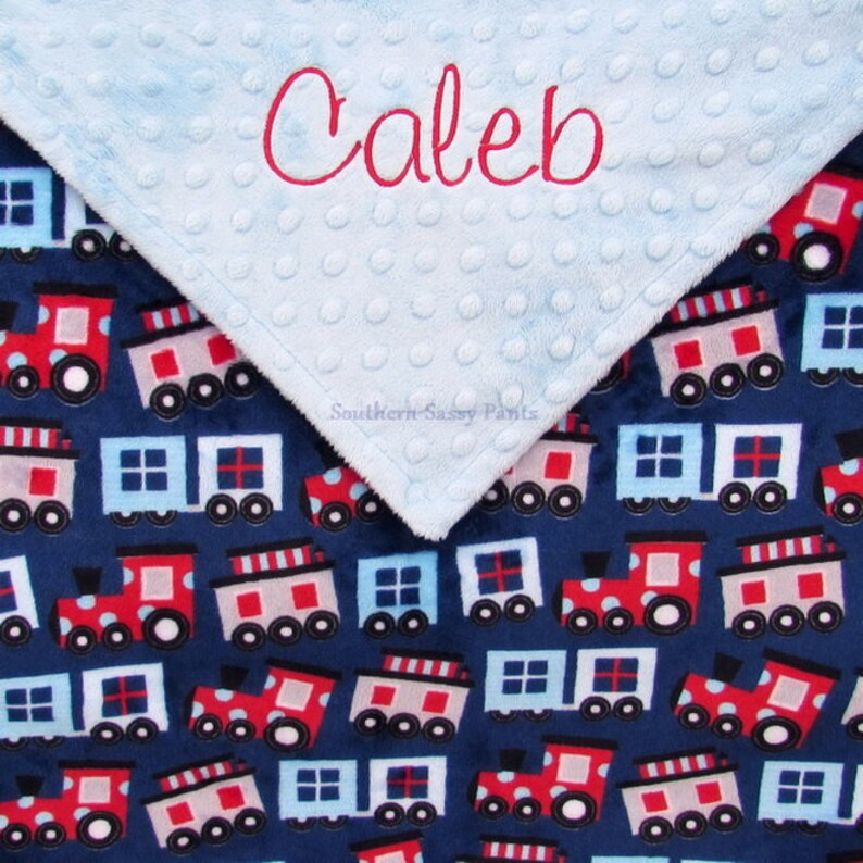 Navy and Red Train Print Baby Blanket or Lovie Personalize image 0
