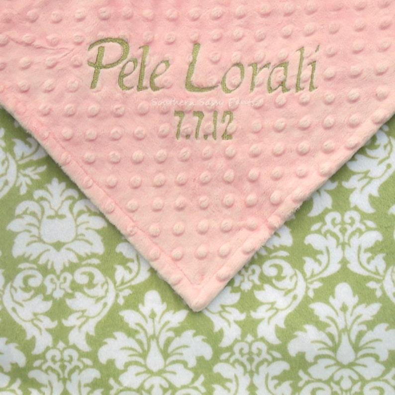 Personalzed Baby Blanket  Shabby Chic Baby Girl Blanket  image 0
