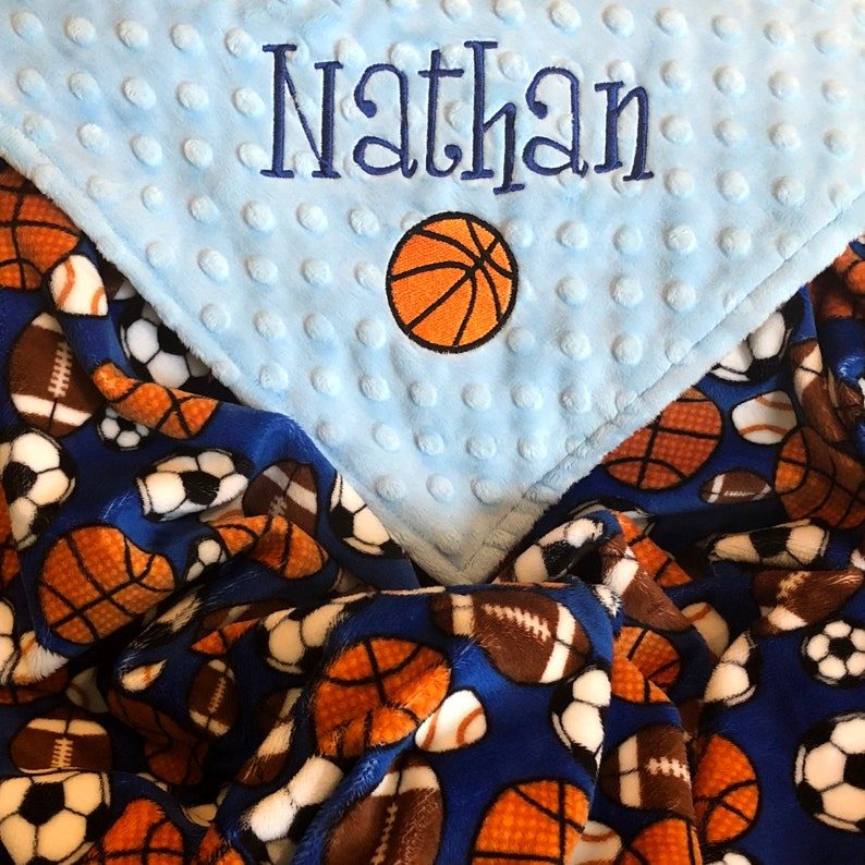 Basketball Baby Gift Sports Security Blanket Monogrammed image 0