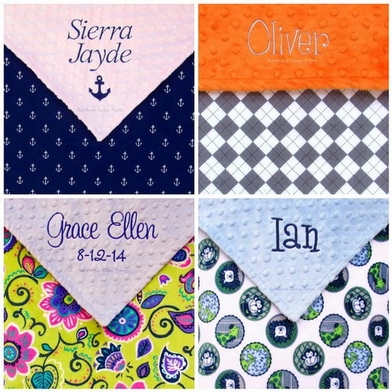 Embroidered Personalized Monogrammed Baby Blanket Stroller Boy Designs
