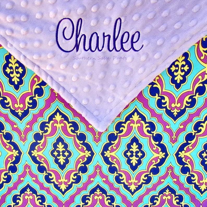 Baby Girl Blanket  Personalized Baby Blanket Lavender Minky image 0