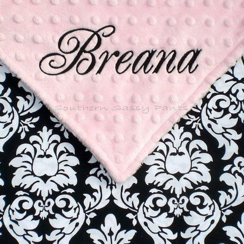 Personalized Lovie Baby Blanket Custom Girls Damask Security image 0