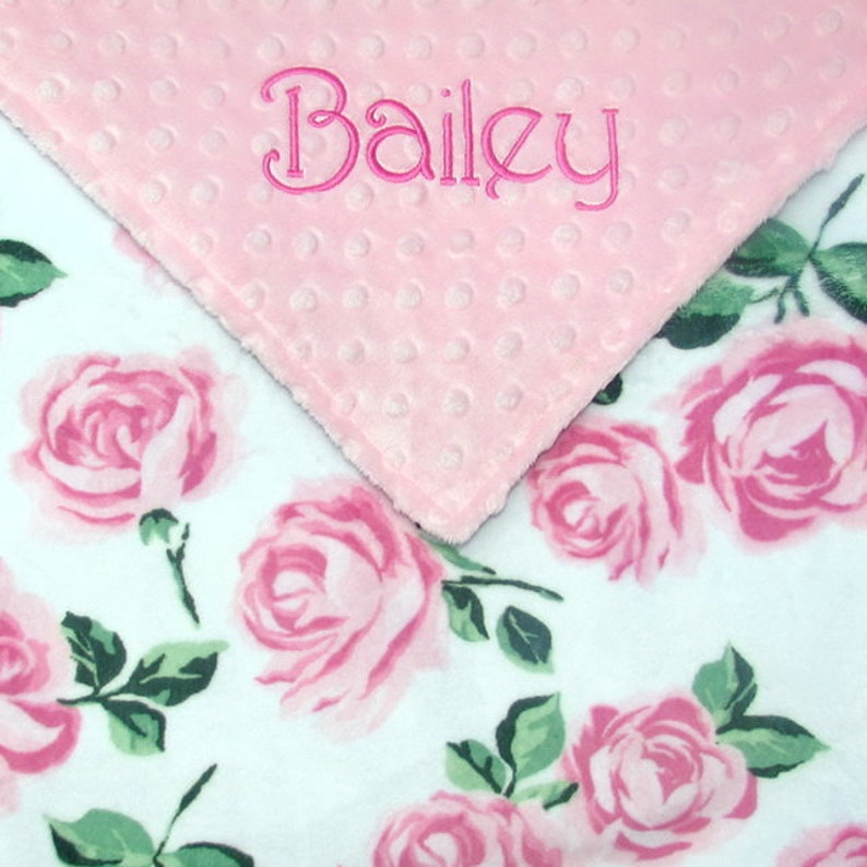 Personalized Baby Blanket or Lovie  Vintage Roses Double image 0