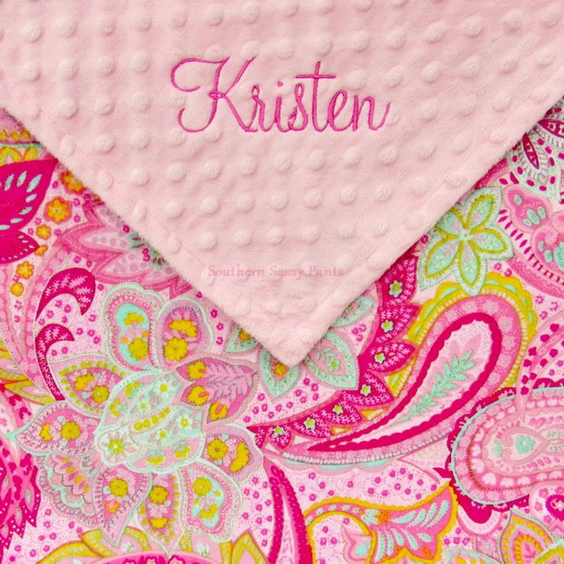 Custom Baby Girl Blanket Personalized Paisley Minky for Light Pink