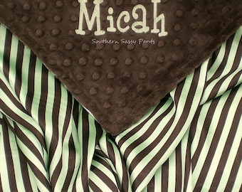 Satin Baby Blanket , Brown and Green Baby Boy Blanket - Personalized Baby Blanket , Minky and Satin for Baby Boy