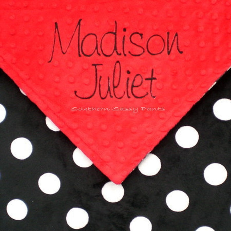 Custom Baby Blanket  Personalized Black and White Minky Baby image 0