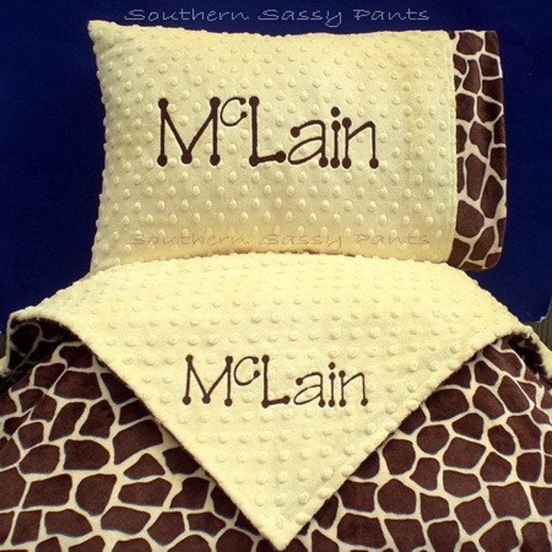 Personalized Crib Blanket and Toddler Pillow  Minky Blanket image 0