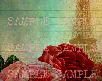 Téléchargement numérique Télécharger Collage feuille Junk Journal papier Floral Chic minable Roses Français Paris Eiffel Tour Journal Page fixes doublé