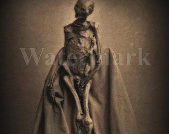 Téléchargement numérique Télécharger Creepy effrayant squelette Macabre Portrait Antique Vintage Photo Art imprimable papier artisanat Scrapbook Altered Art