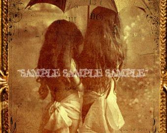 Photo imprimable numérique Télécharger gothique belle petites filles Vintage enfants étrange étrange fantomatique instantané de Vintage photo soeurs