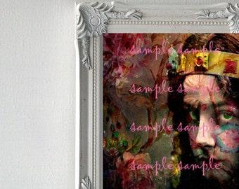 Fine Art Print mixte mixtes aquarelle peinture Home Decor Art numérique Portrait surréaliste Gypsy Bohème Floral Shabby Chic