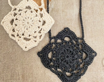 Sow Thistle Square - Tiny Crochet Motif Necklace