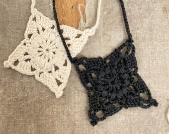 French Square - Tiny Crochet Motif Necklace