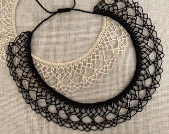 Knotted Lace Choker - Armenian Lace - Oya - Crochet -Double Pie Slice
