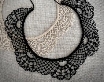 Knotted Lace Choker - Armenian Lace - Oya - Crochet -Scallops