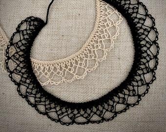 Knotted Lace Choker - Armenian Lace - Oya - Crochet -Pie Slice