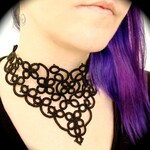 Tatted Lace Choker Collar Necklace - Four Scrolls