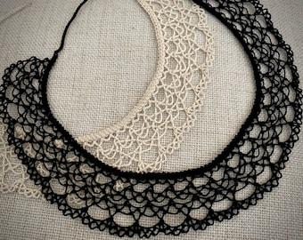 Knotted Lace Choker - Armenian Lace - Oya - Crochet -Three Tier