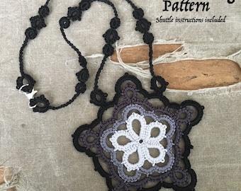 PDF Tatting Pattern -Black Star - Pendant - Necklace