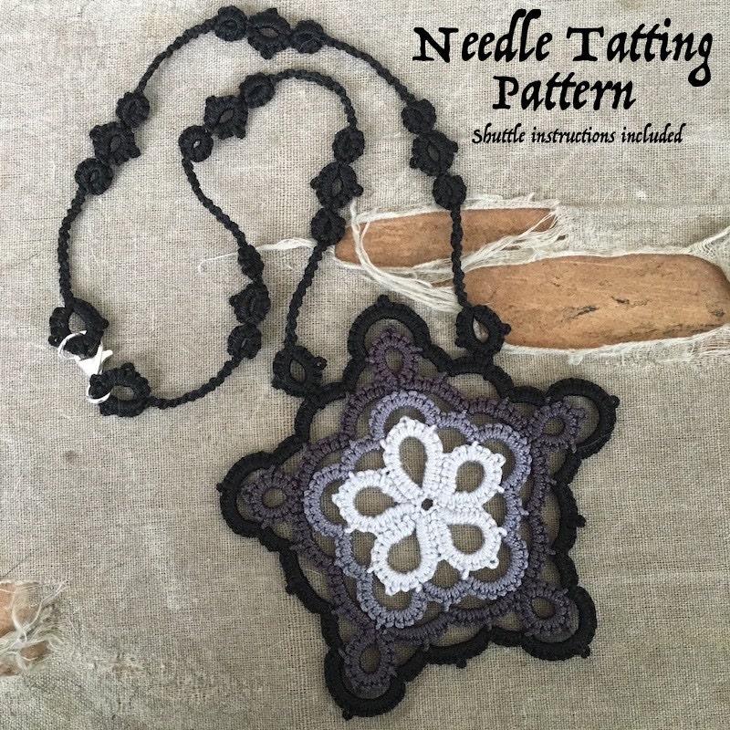 Pdf Tatting Pattern Black Star Pendant Necklace Etsy