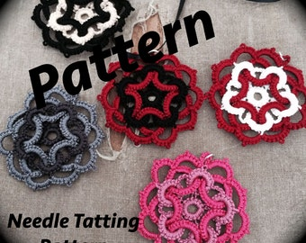 PDF Needle Tatting Pattern - Star Flower Motif