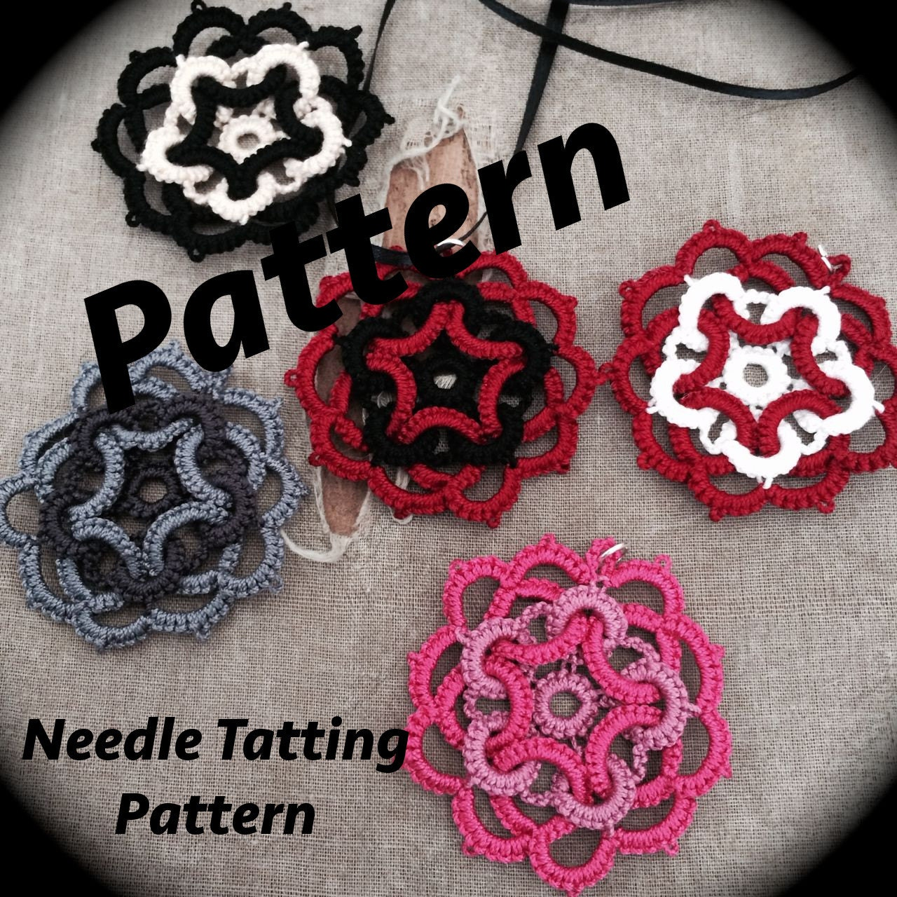 Pdf Needle Tatting Pattern Star Flower Motif Etsy