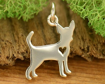 Stainless Steel Dog Pendant Chihuahua Charm 25mm x 22mm 1 piece 1040