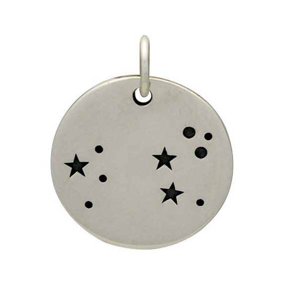 Leo Zodiac Charm Sterling Silver Disc Pendant Constellation Etsy