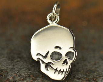 Skull charm, sterling silver halloween charm, halloween jewelry, diy jewelry, add to your bracelet or necklace