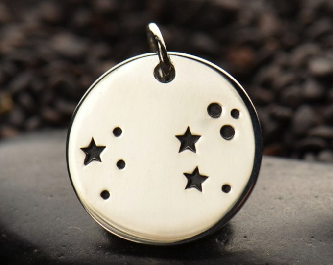 Zodiac Charms, sterling silver disc charm or pendant. Constellation Birthday Gift, Star sign, Bronze, DIY jewelry
