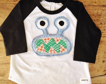 Blue Bernard on 3/4 black and white tee- now in infant sizes 3-6m, 6-12m, 12-18m
