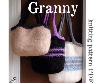 KNITTING PATTERN - Granny Felted Wool Bag (PDF Download)
