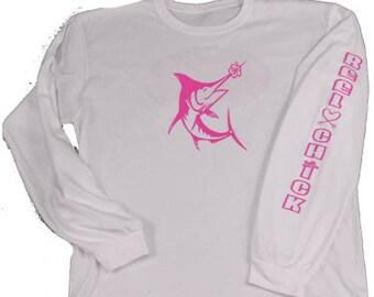 Reel Chick Women's Fishing Apparel Happy Marlin Long Sleeve T-Shirt