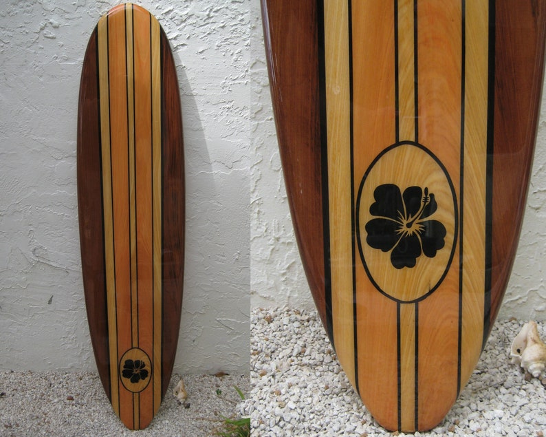 Decorative Wooden Surfboard Wall Art Hawaiian Art Hawaiian Decor Decorative Surfboard Surfboard Decor Surfboard Art Coastal Decor