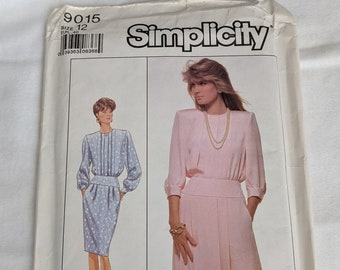 1980s Dress with Pockets Sewing Pattern Classy Office Wear Size 12 Simplicity 9015 Retro Vintage Womens