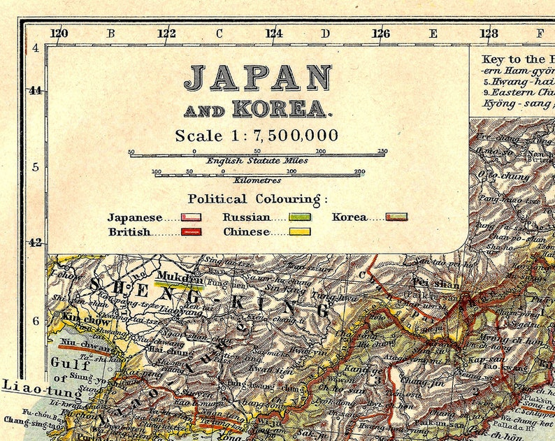 Japan Korea Instant Download Pre Korean War Antique Map 1910 Etsy
