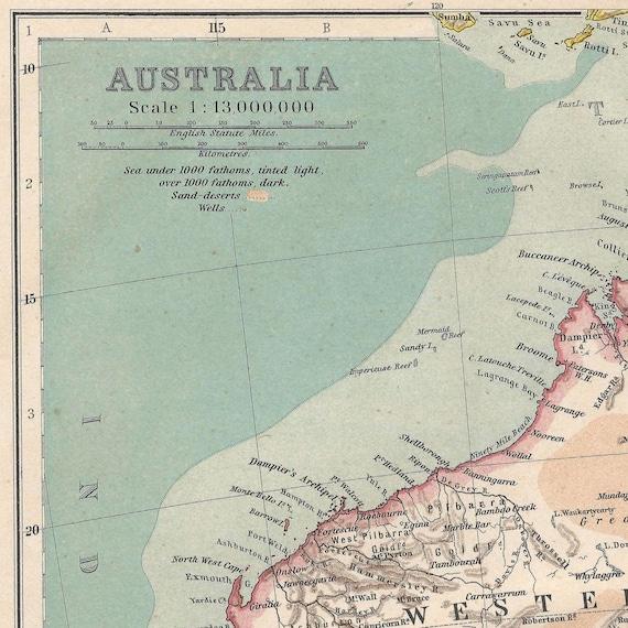 Full Map Of Australia.Australia Instant Download Pre World War I Antique Map 1910 Full Color Sydney Melbourne Brisbane Perth Queensland