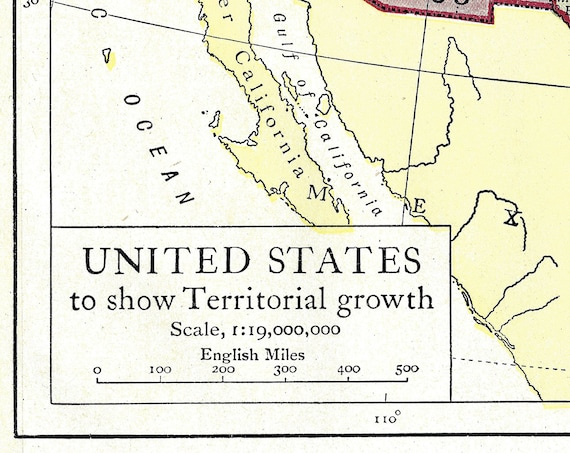 United States Territorial Growth, Instant Download Pre-World War I Antique  Map up to 1910, Full Color, Louisiana Purchase