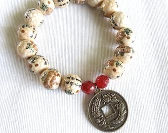 Friendship Charm Bracelet,  Flowered Beaded Charm Bracelet,