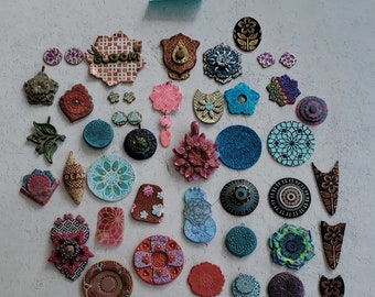 Assortment of handmade polymer clay components